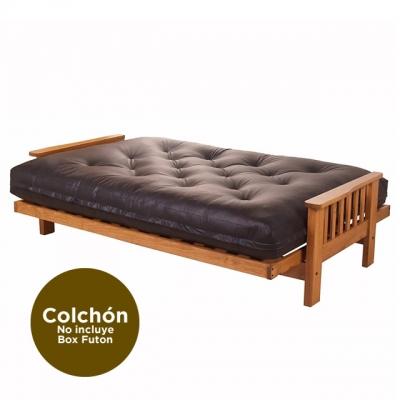 Colchon Futon Genoud Triple Con Resorte Cuerina Chocolate