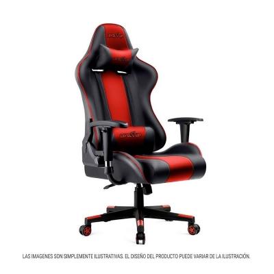 Silla Gamer Level Up Zeus Rojo/negro Max 90kg Angulos 90°/130°/170° Apoya Brazos Regulables Y Girat