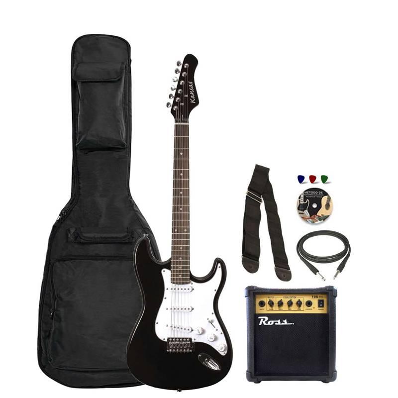 Guitarra Elect Kansas Fg-250 T/str3 Microf S Palanca+ Amplif 10w+ Funda